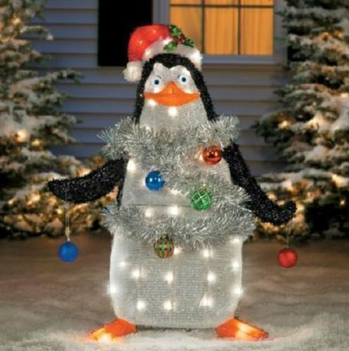 37 lighted tinsel madagascar penguin outdoor christmas holiday decor - Penguin Outdoor Christmas Decorations