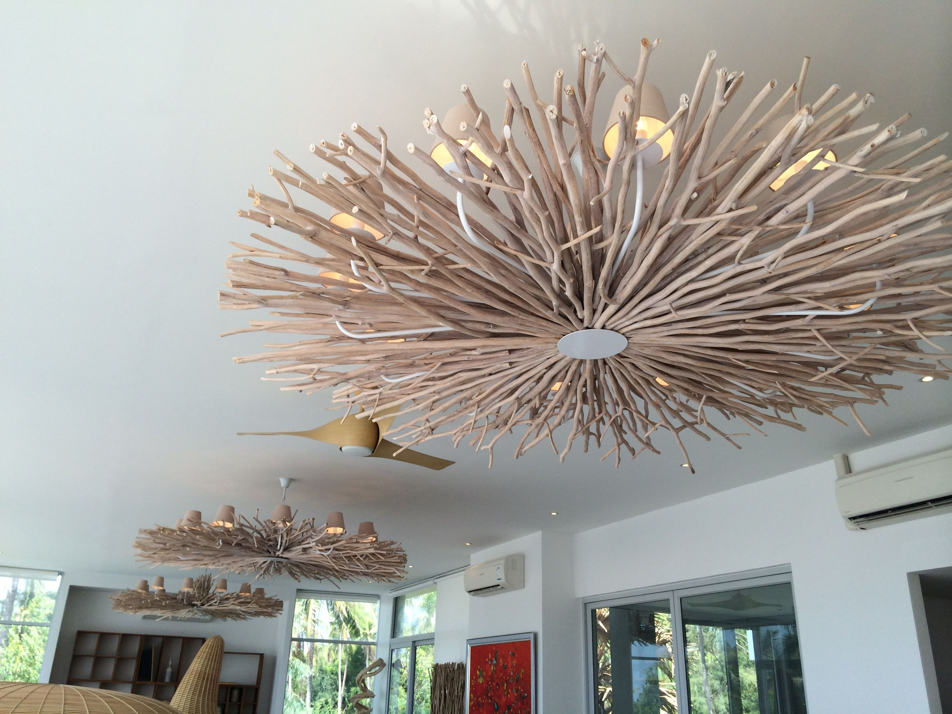 3 large branches chandelier in room setting Chandeliers from O