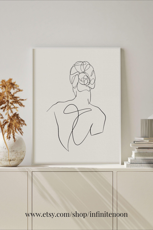 Single Line Woman Drawing Female Back Pose One Line Etsy In 2021 Minimal Wall Art Modern Wall Decor Art Drawing Artwork