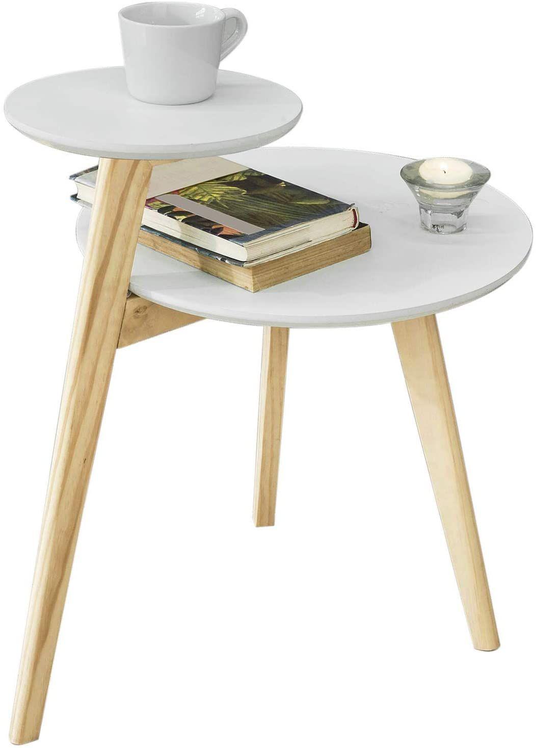 Sobuy Fbt53 Wn Table Basse Design Table D Appoint Ronde Table Cafe 2 Plateaux 3 Pieds En 2020 Table Basse Design Table Cafe Table Basse