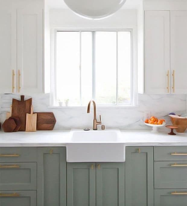 new kitchen cabinet doors sink soap and sponge holder pin by margaret trainor on home decor two tone cabinets bigger but like the colors green toned shaker