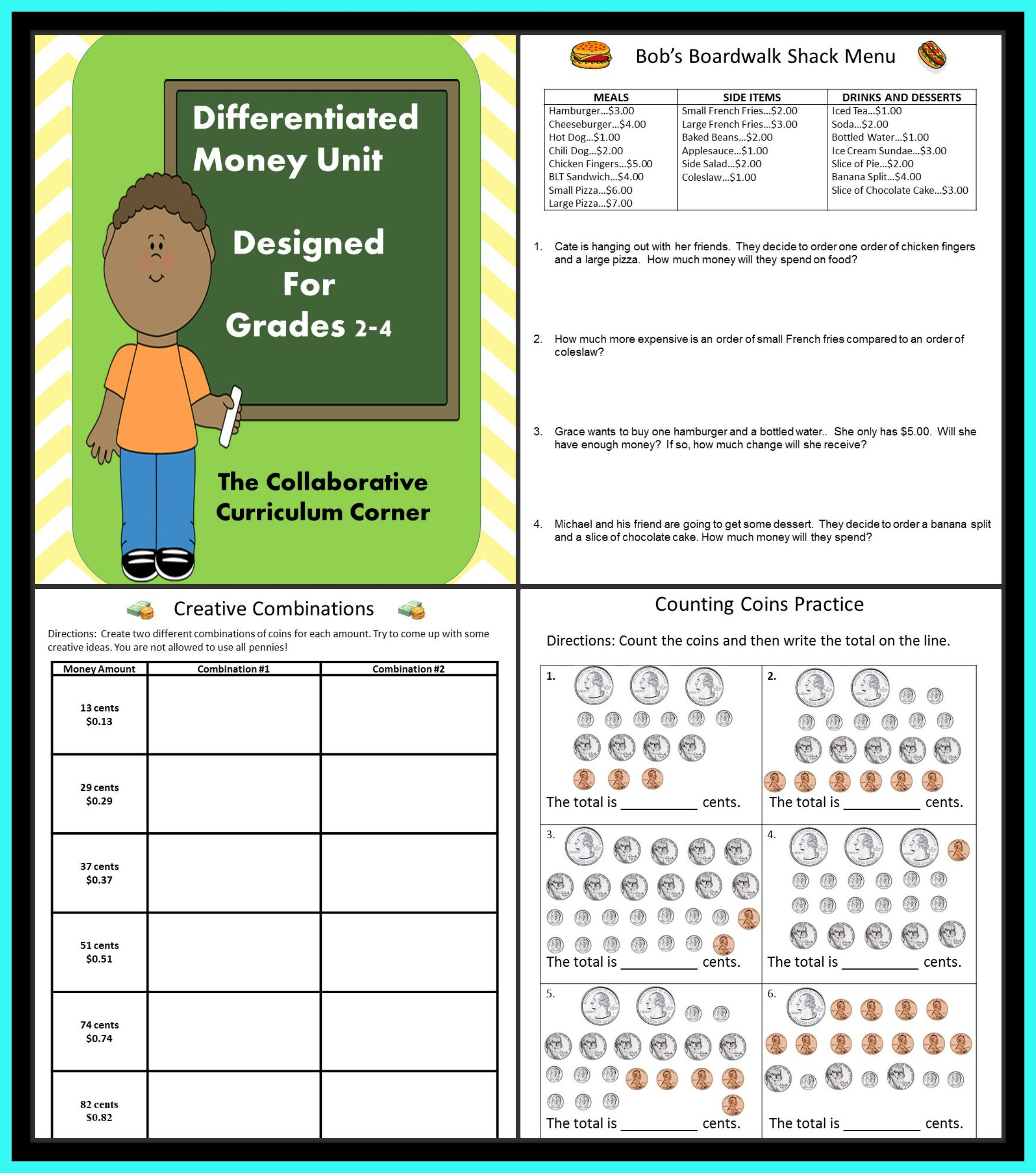 Differentiated Money Unit For 2nd Through 4th Grade With
