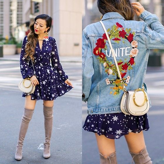 Get this look: http://lb.nu/look/8844483  More looks by Sasa Zoe: http://lb.nu/shallwesasa  Items in this look:  On Sale Denim Jacket, Bag, Dress, 40% Off Stuart Weitzman Boots, 40% Off Earrings   #chic #classic #romantic #denimjacket #dress #otkboots