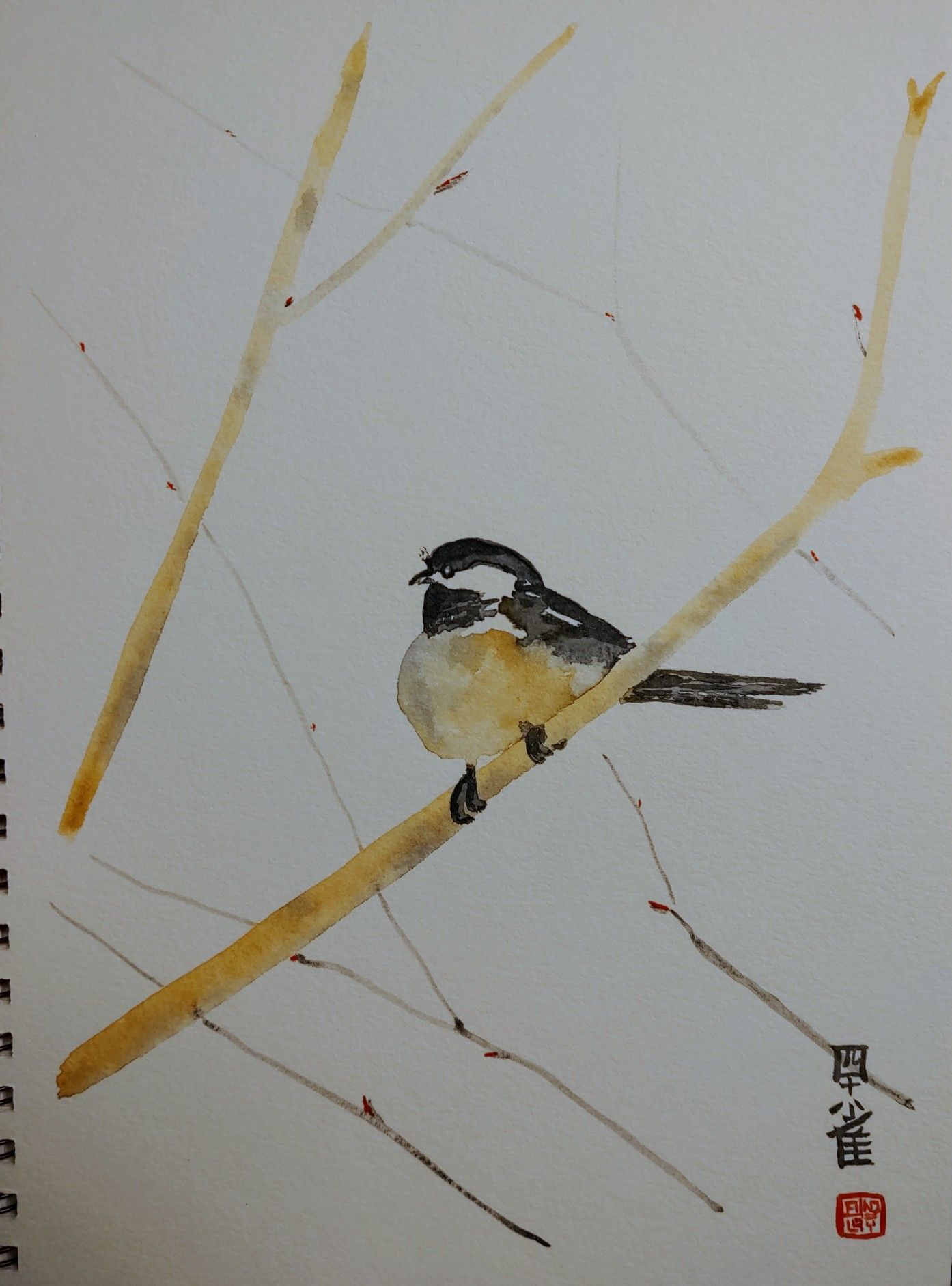 Chickadee in a Japanese style Artist, Chinese art, Art