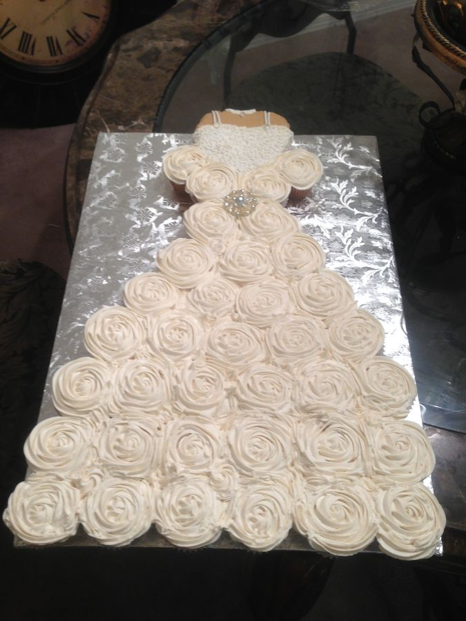Cupcake Wedding Dress For A Bridal Shower Bodice Is Heart Shape Cake Covered With