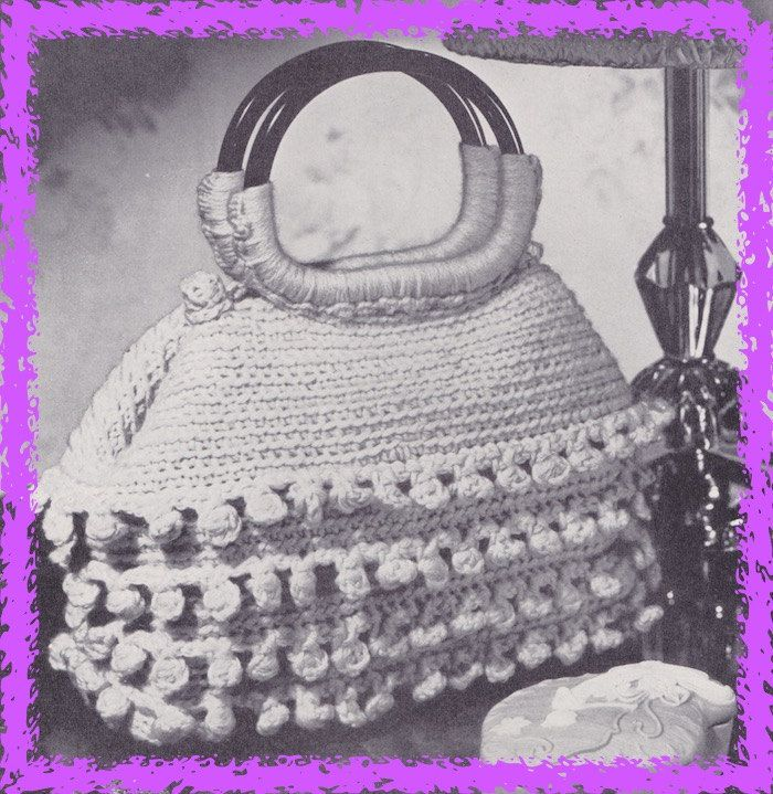 571 Handbag Crochet Pattern, Ladies Purse Clutch, Small Wood Handle ...