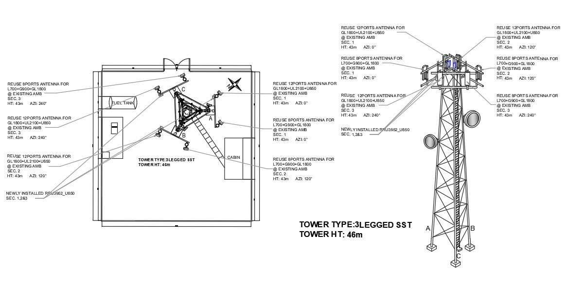 Elevation Layout Of The Three Legged Self Supporting Tower With 46m Height Is Given In 3d Autocad Model Drawing Download The Autocad 3d Autocad Model Drawing