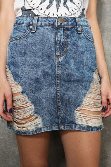 BDG Acid Wash Destroyed Skirt