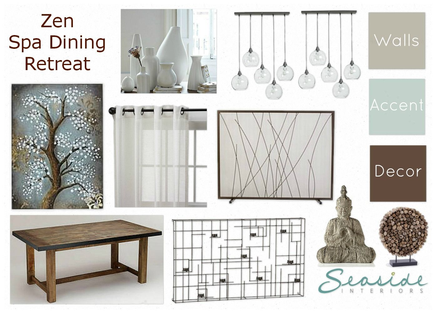Seaside Interiors: Zen/Spa Retreat Living and Dining Room Mood Board