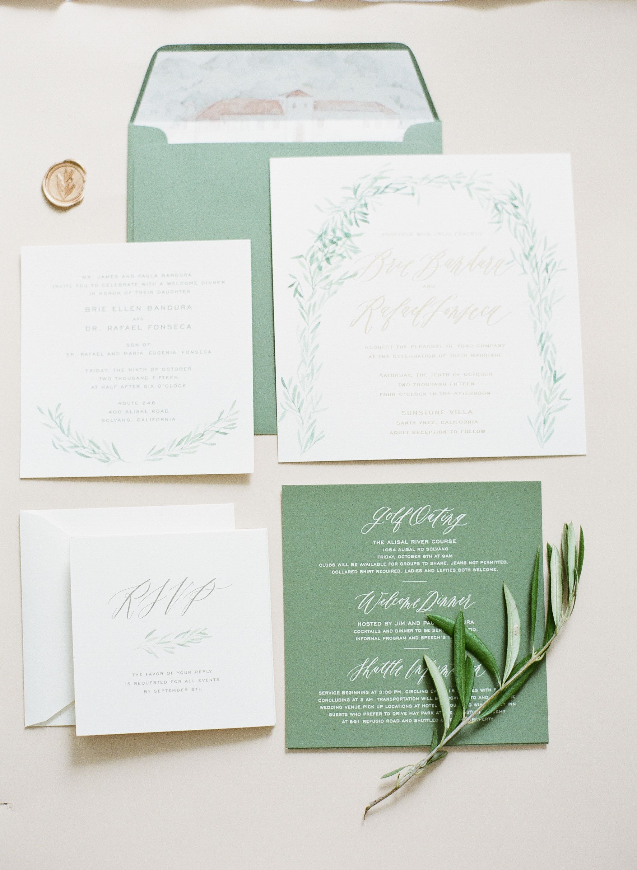 Calligraphy and Design by: Written Word Calligraphy // Sage Wedding ...