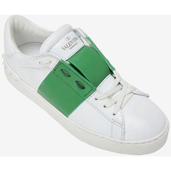 best service fde4b b6c85 Valentino Green Stripe Leather Sneaker (5 650 SEK) ❤ liked on Polyvore  featuring shoes, sneakers, white, green leather sneakers, leather sneakers,  ...