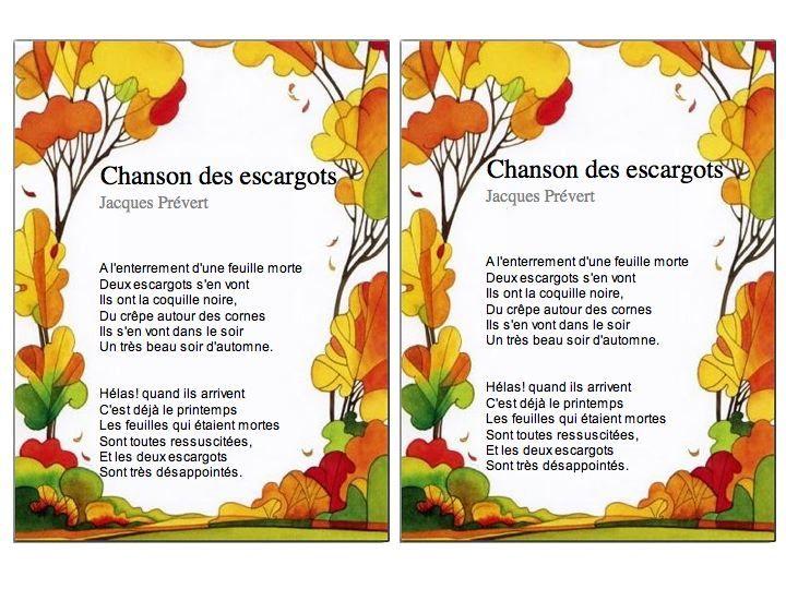 Chanson Des Escargots Jacques Prévert Ce1 Ce2 Prevert