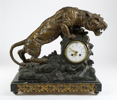 Chateau Thierry 19th Century Gorgeous Full Figural Tiger Clock By G. Omerth-RARE