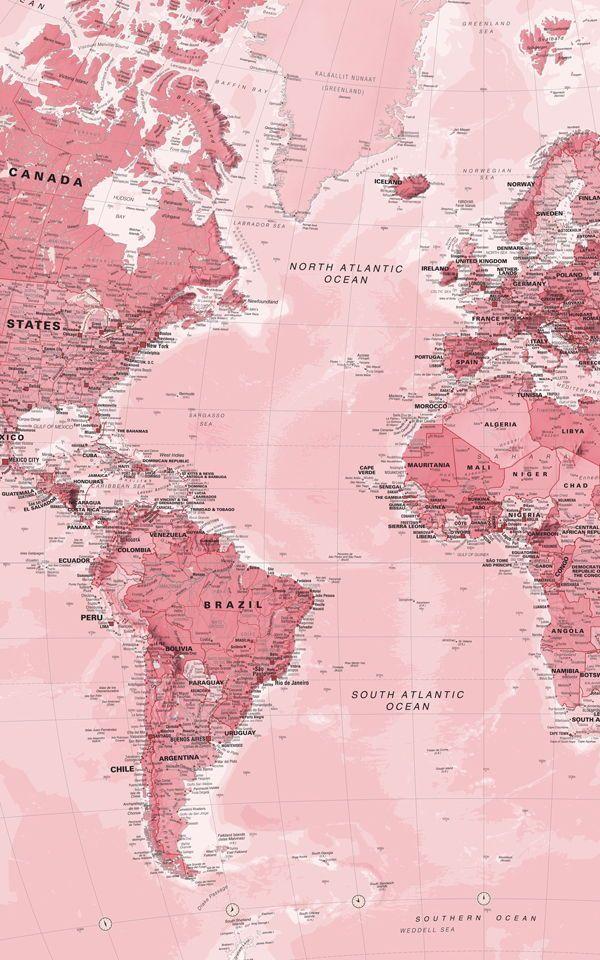 Rosa Weltkarte Wandtapete - #walpapers #worldmapmural