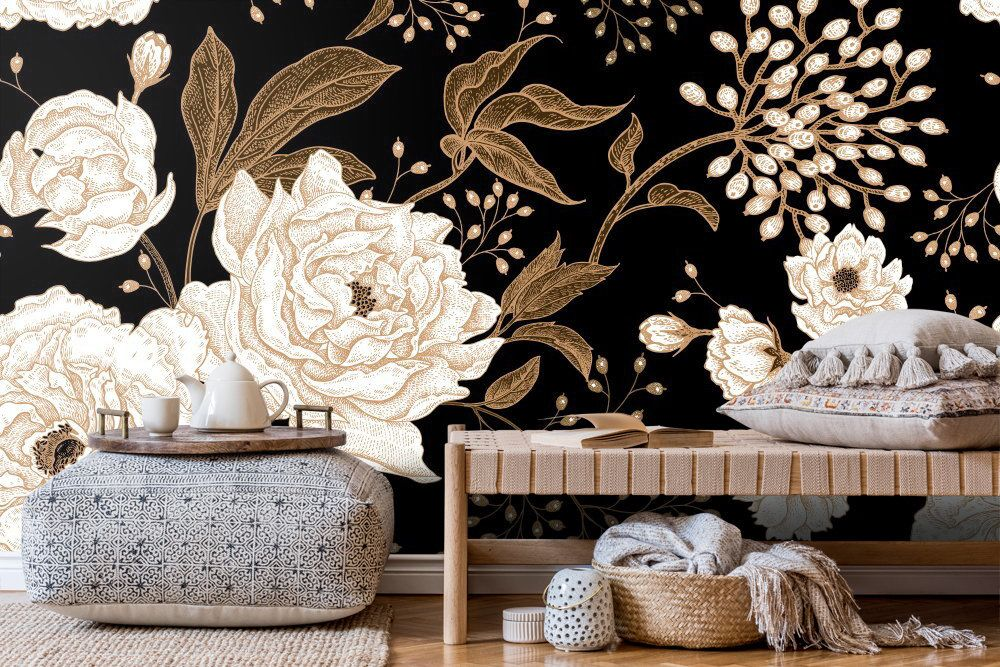 Peonies And Roses Floral Wallpaper Dark Flowers Wall Murals Etsy Stick Wall Art Wall Patterns Floral Wallpaper