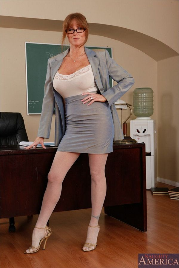 Mature teacher stockings