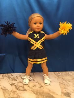 Homemade Michigan Universary Cheerleading Outfit For 18 Inch Dolls Like American Girl And Similar Dolls: Sale Includes 4 Items