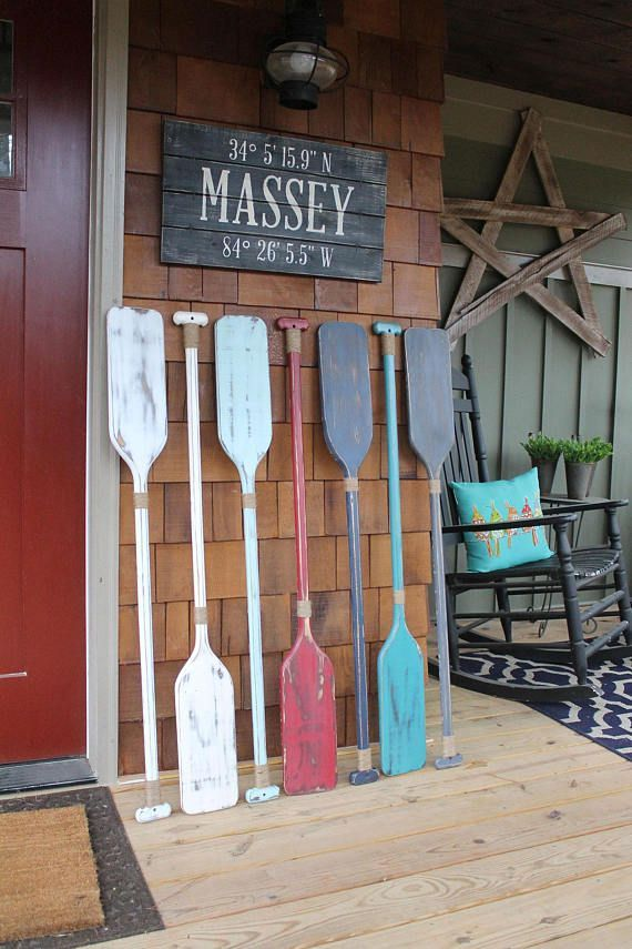 Beach house decor oar wall decorative painted nautical also rh pinterest
