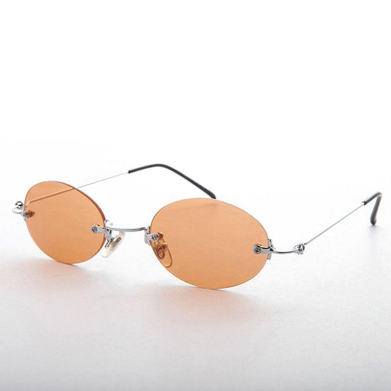 90s Vintage Rimless Oval Colored Lens Sunglass - Piper   Meu estilo ... 1900c9a4d7