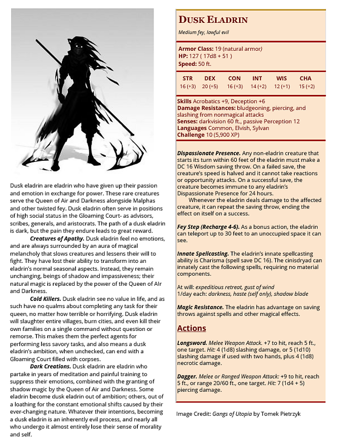 Dusk Eladrin in 2019 | dungeons and dragons homebrew world