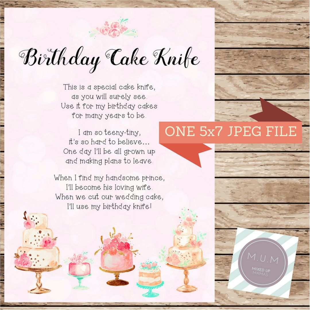 Birthday Cake Knife Poem First Gift Cutter Caking Cutting