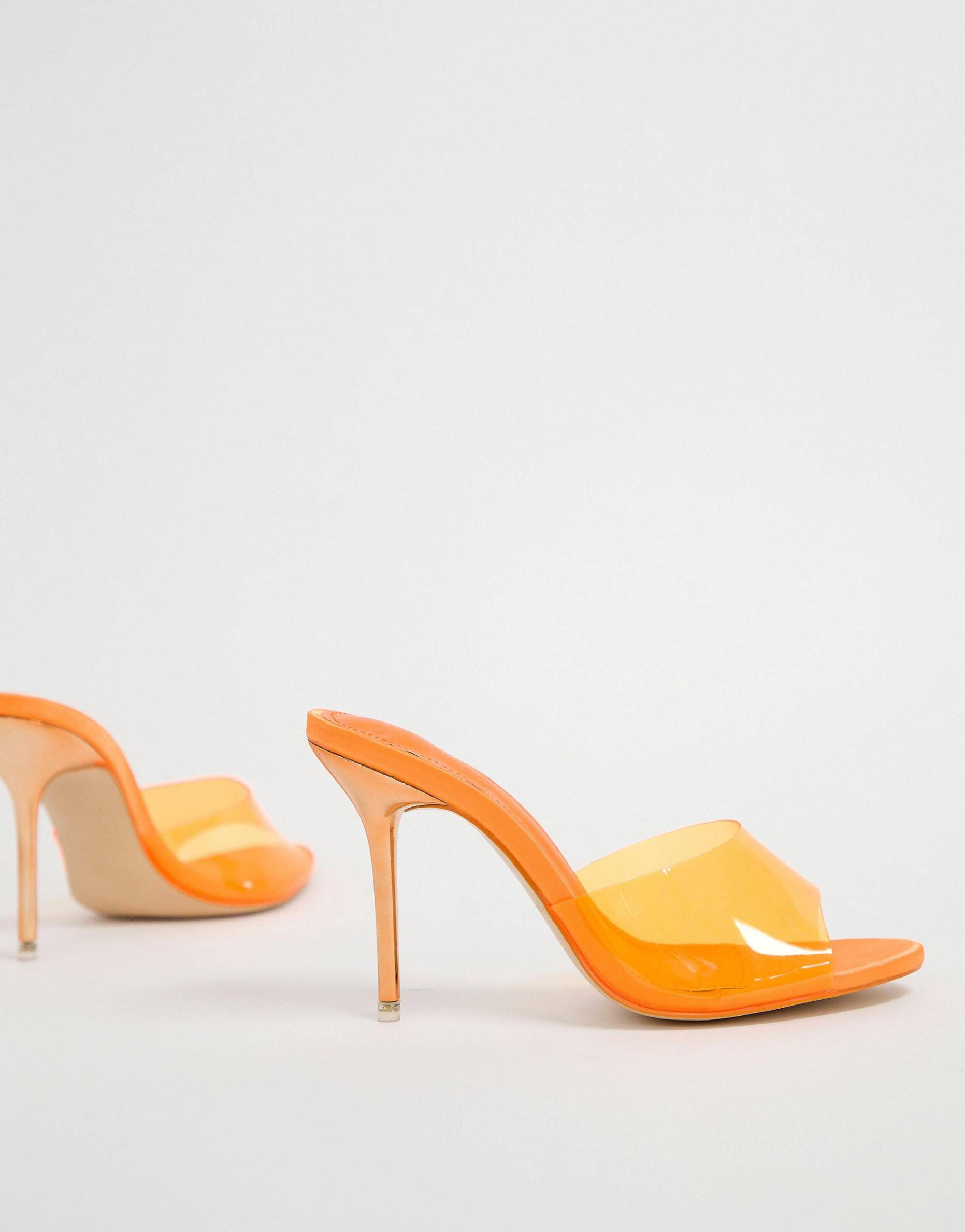 1a011ffc915 Public Desire Hook orange clear mules in 2019