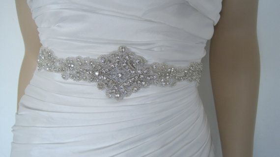 Wedding dress sashes and beltsbeaded bridal by Diamondweddingveil ...