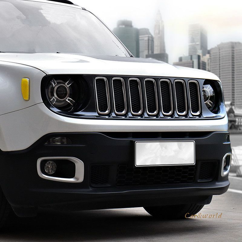 For Jeep Renegade 2015 2016 2017 Front Grille Grill Cover Trim Replacement Kit Exterior Abs Chrome Decorate Car Cov 2015 Jeep Renegade Jeep Renegade Car Covers