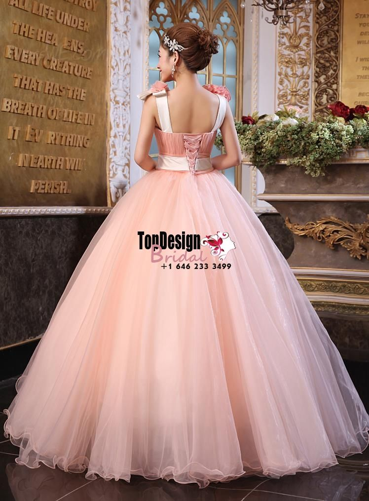 2017 New Beaded Flower Sweet 15 Ball Gown Peach Satin Tulle Prom Dress Gown Vestidos De 15 Anos with Ribbon
