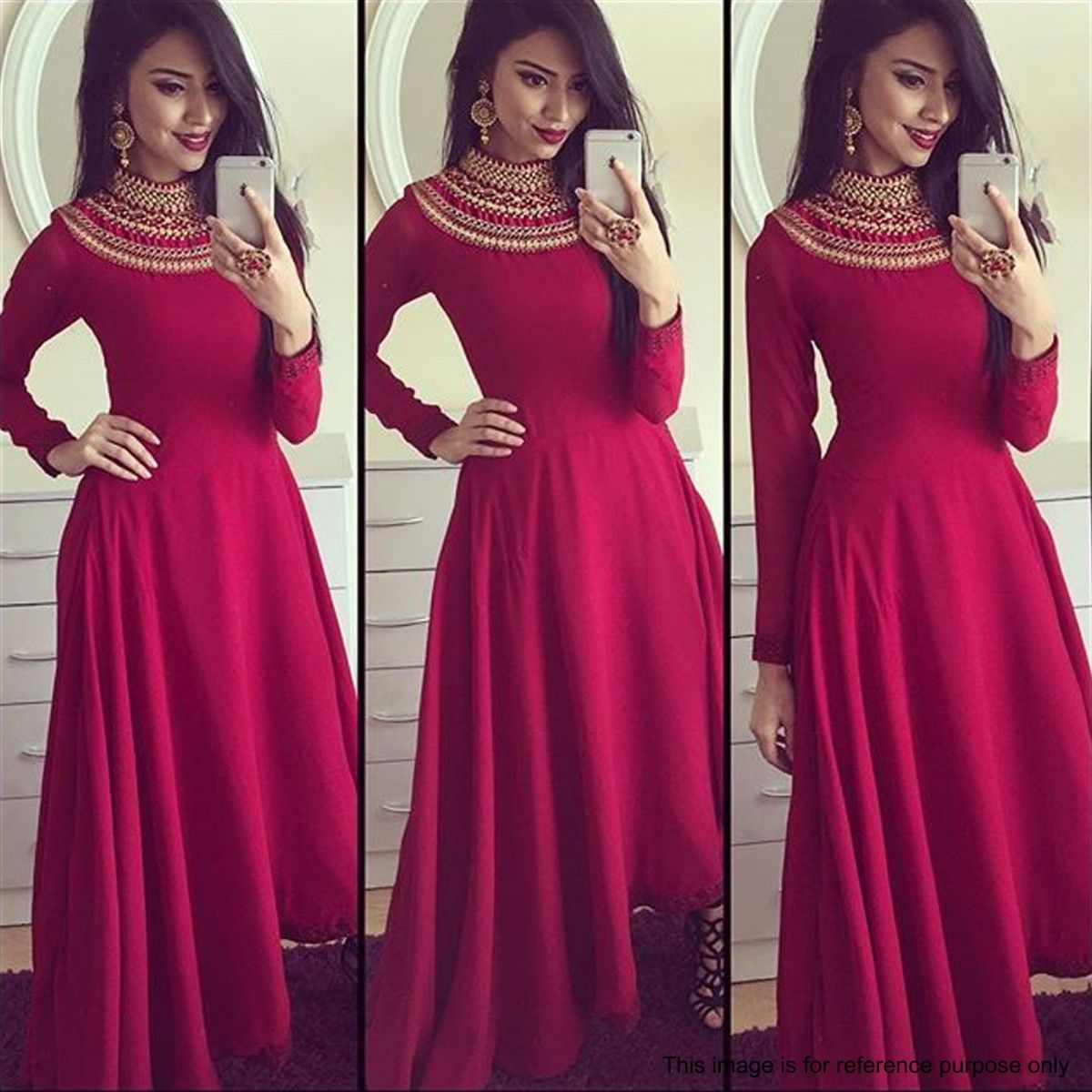 Maroon Turtle Neck Embroidered Gown Dresses Dresses Indowestern