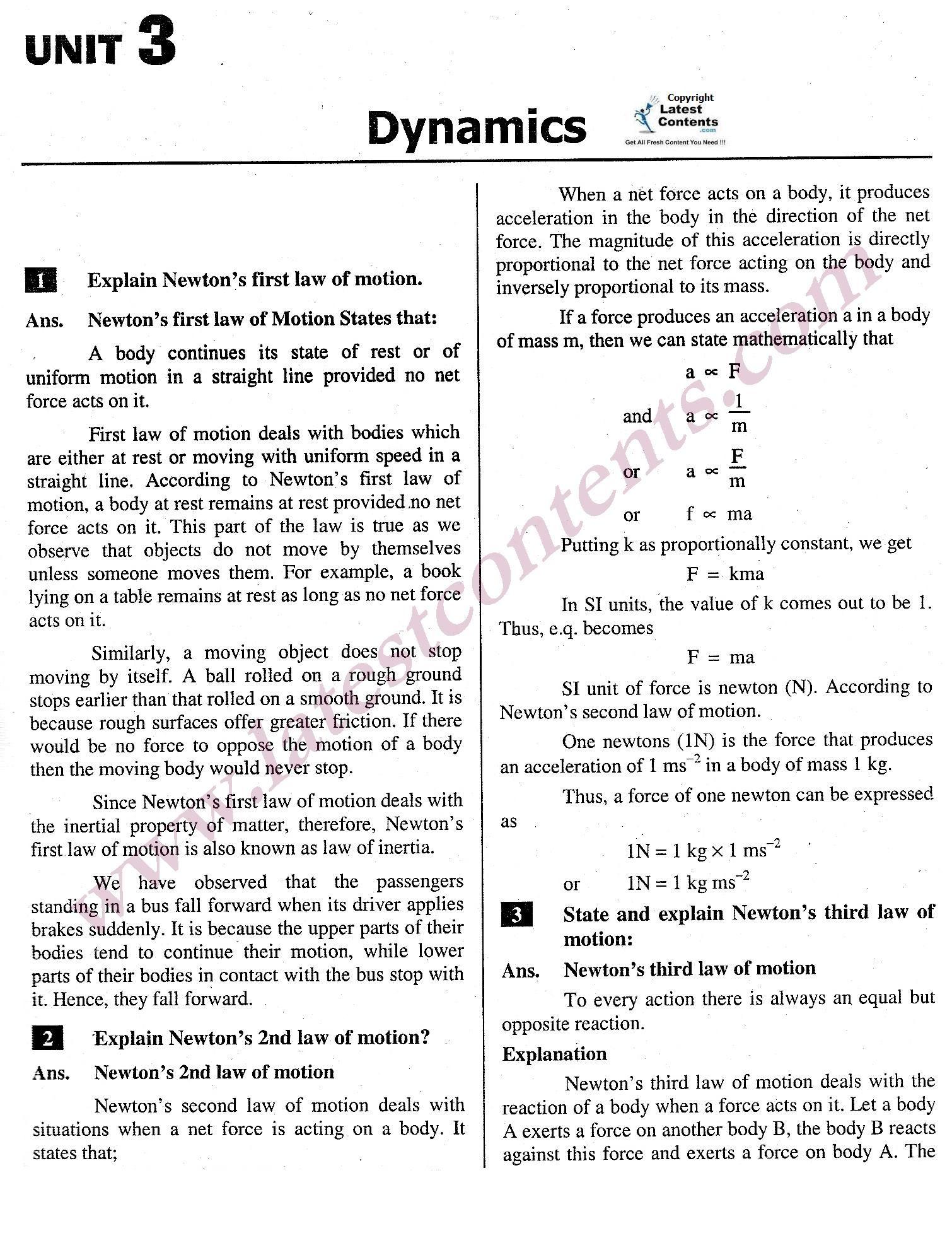 9th Class Physics Notes Unit 3 Dynamics Physics Notes Math Answers Word Problem Worksheets [ 1963 x 1510 Pixel ]