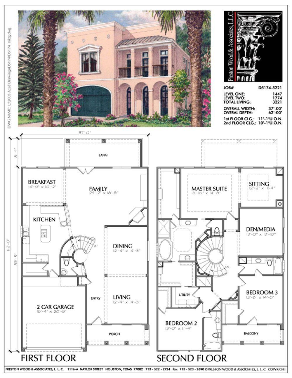 Two Story Urban Home Plan D5174 Affordable Floor Plans House Plans Spanish Style Homes