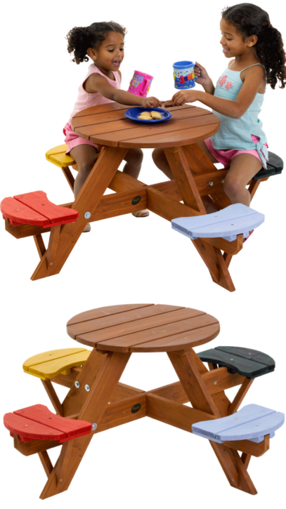 Plum Children\'s Circular Garden Picnic Table with Coloured Seats ...
