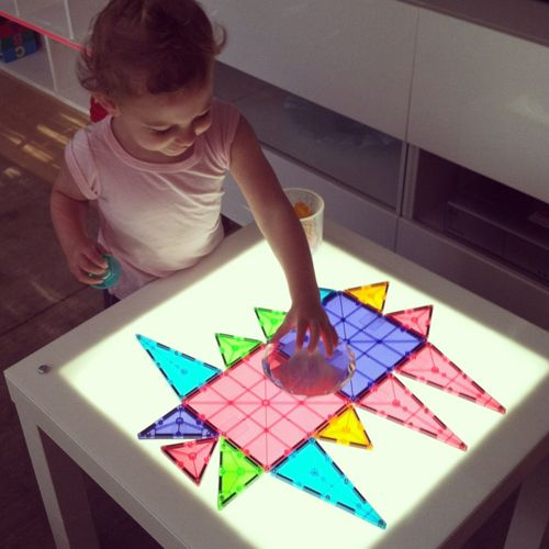 Magna Tiles Clear Colors 32 Piece Set Magnatiles On A Light Table By Ready Play Llc