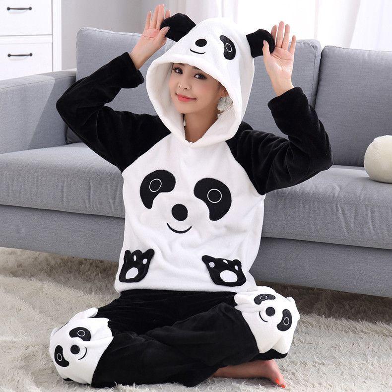 Thick Warm Coral Velvet Pyjamas Sets For Women Autumn Winter Flannel Female  Cartoon Panda Unicorn Hooded 5fbd7f948