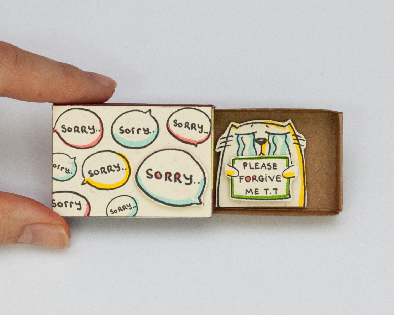 cat sorry card matchbox / gretting card / gift box / message box