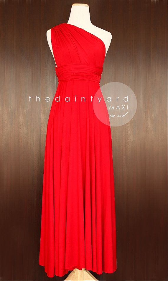 ad0f6c77086 MAXI Red Bridesmaid Convertible Dress Infinity Dress Multiway Dress Twist  Wrap Dress Prom Dress Full Length Dress