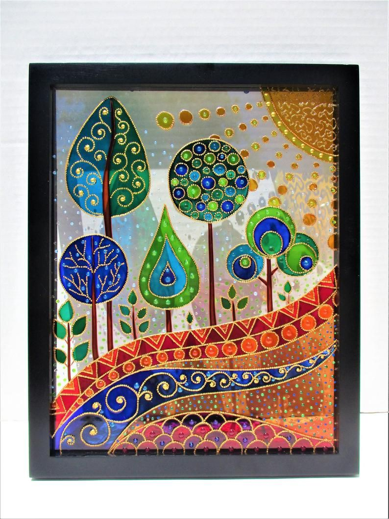 Abstract Landscape Art 15x12 Glass Painting Stained Glass Etsy In 2020 Glass Painting Patterns Glass Painting Designs Glass Painting