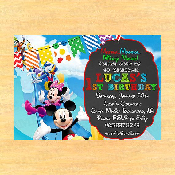 Mickey Mouse Clubhouse Invitation Wording, Mickey Mouse Clubhouse Thank You  Wording, Mickey Mouse Clubhouse Birthday Invitations