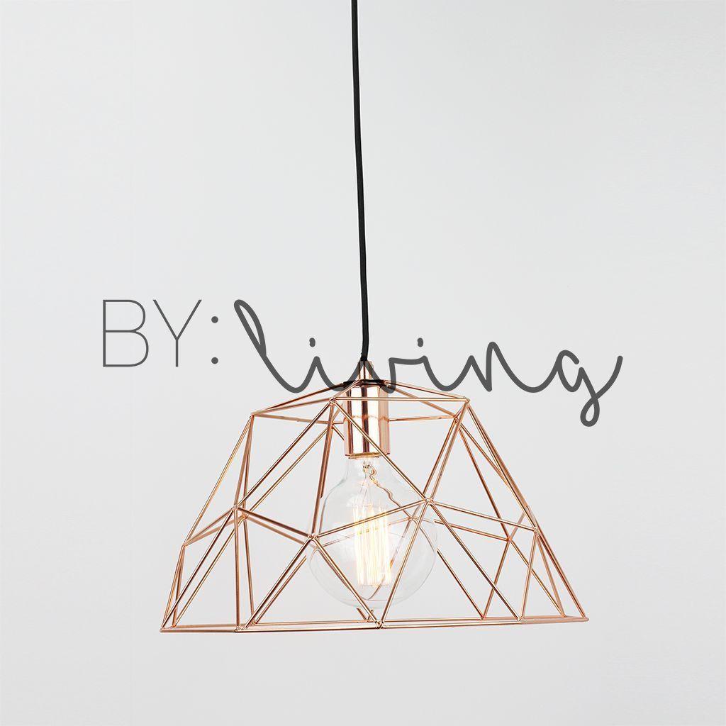 Minimal Copper geometric Wire Cage pendant light Cafe Loft Modern ...