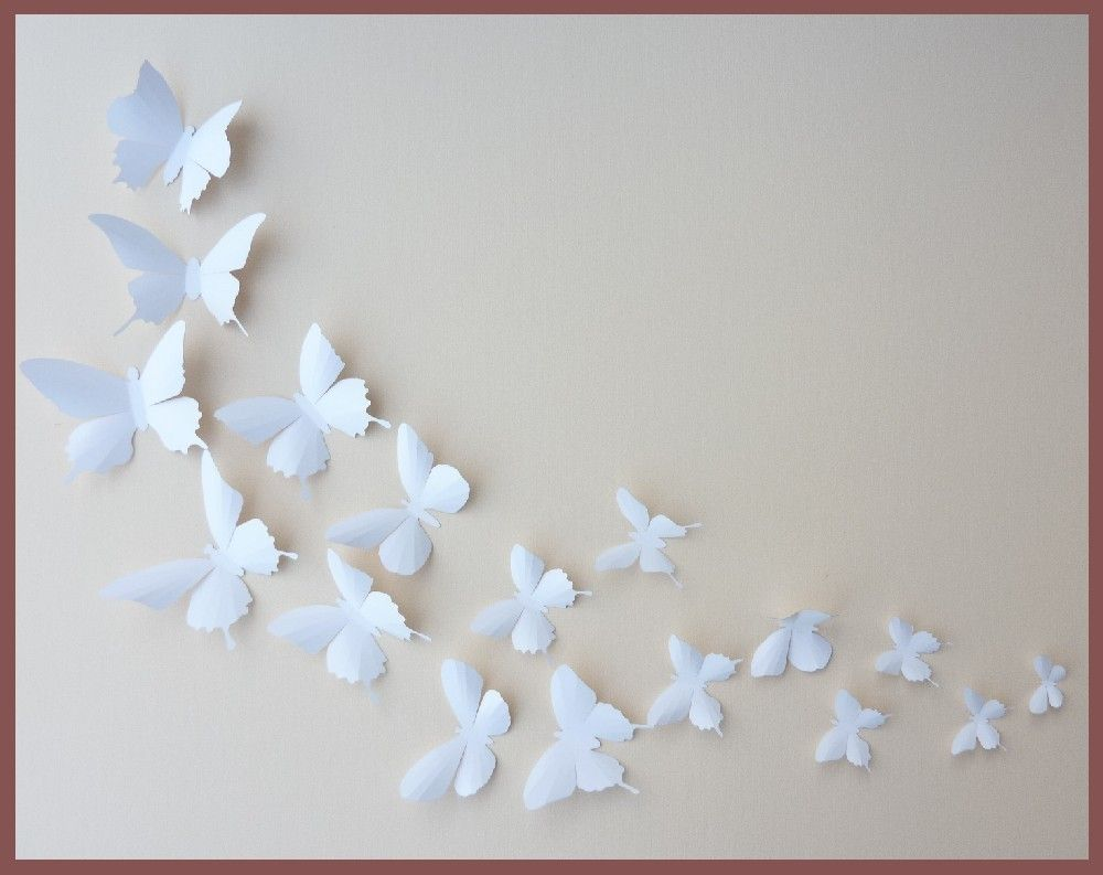 3D Wall Butterflies 30 White Butterfly Silhouettes By BugsLoft