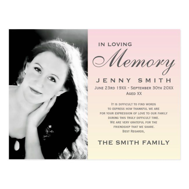 Pastel Pink Ombré Memorial Family Acknowledgement Postcard #funeral #personalized #in #loving #memory #Postcard. Worldwide shipping available. #funeralthankyou #bereavementthankyou