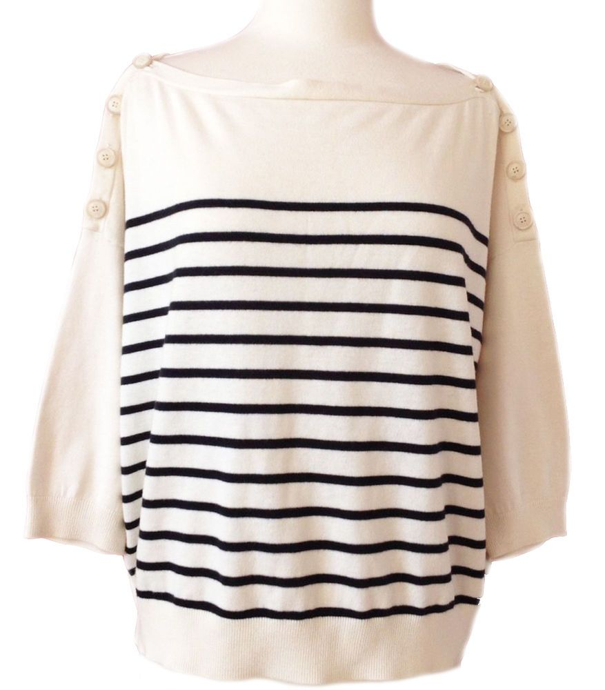 THEORY Boatneck Top Stripe White Black Sailor French Breton ...