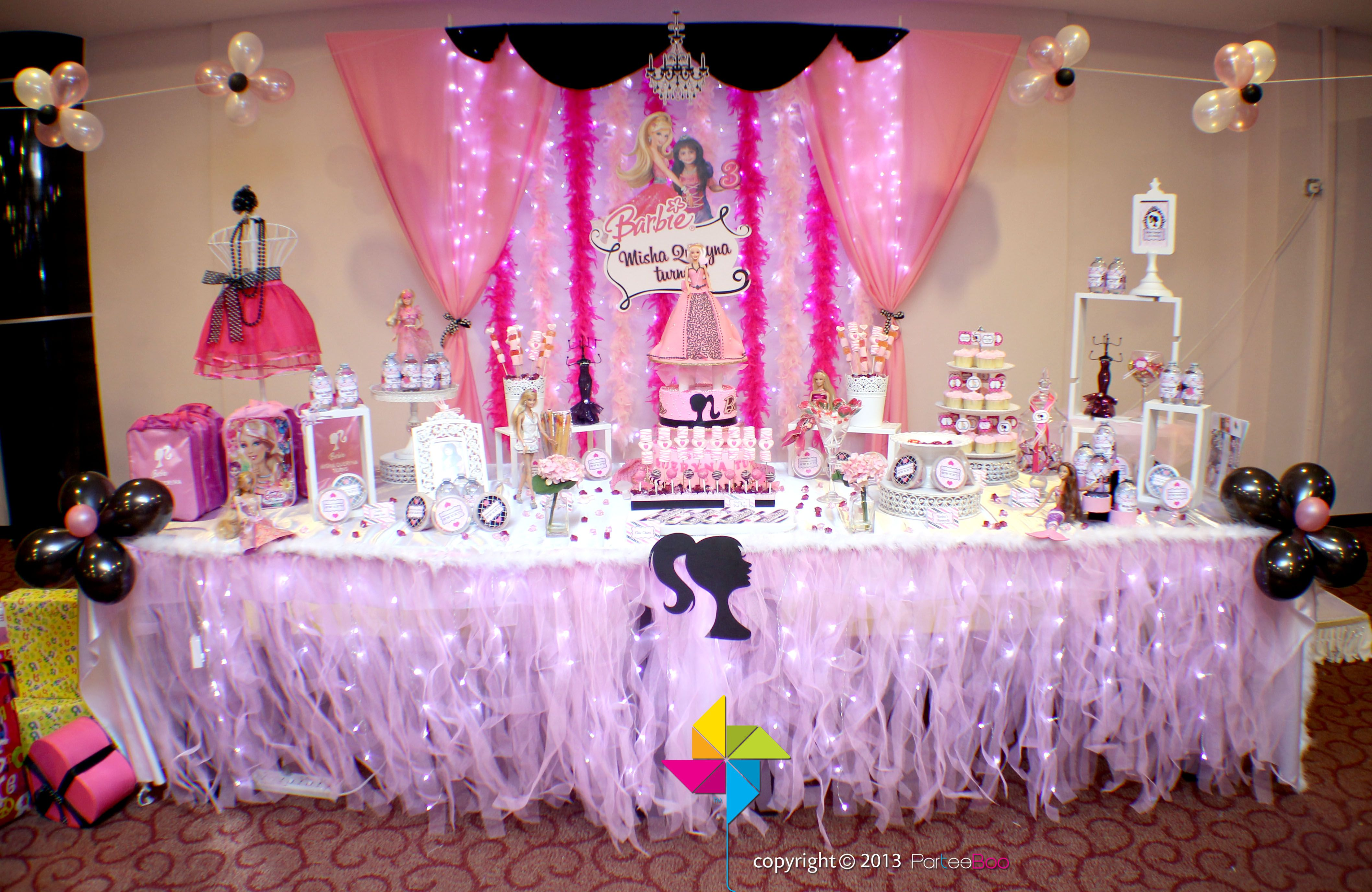 Peachy Backdrop Cake Candy Table For A Barbie Themed 3Rd Birthday Interior Design Ideas Clesiryabchikinfo