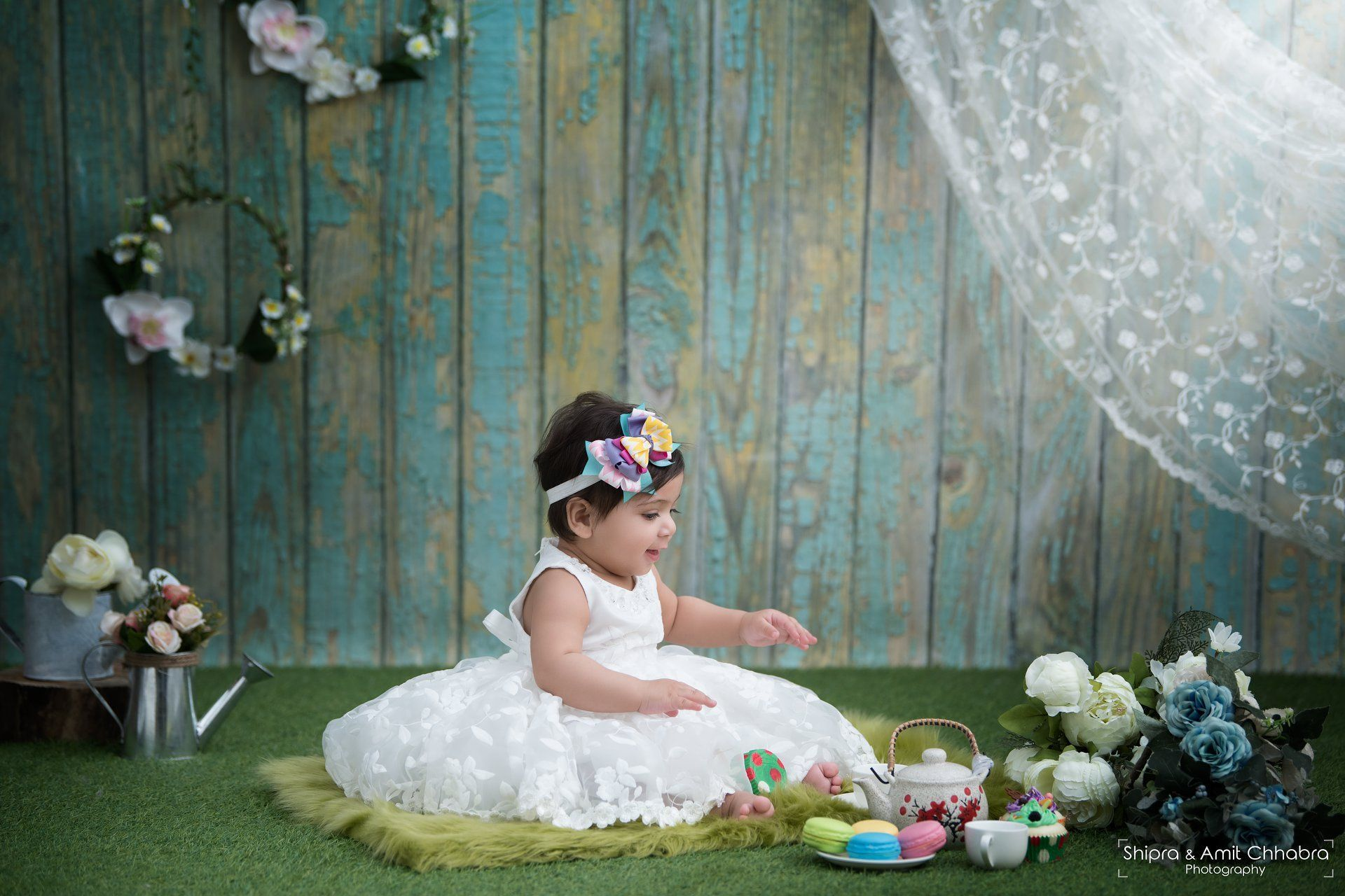 Baby photo shoot babu girl photo shoot ideas infant photography ideas garden theme set up floral theme shipra amit chhabra photography