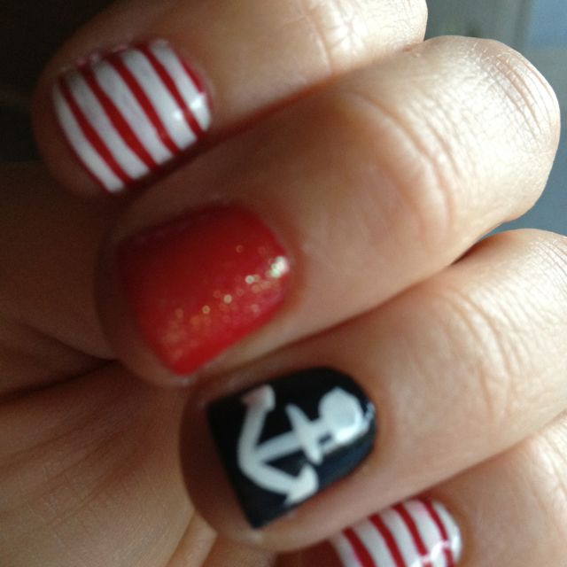 My nails came out cute for the fourth! Essie...Silken Cord (red ...
