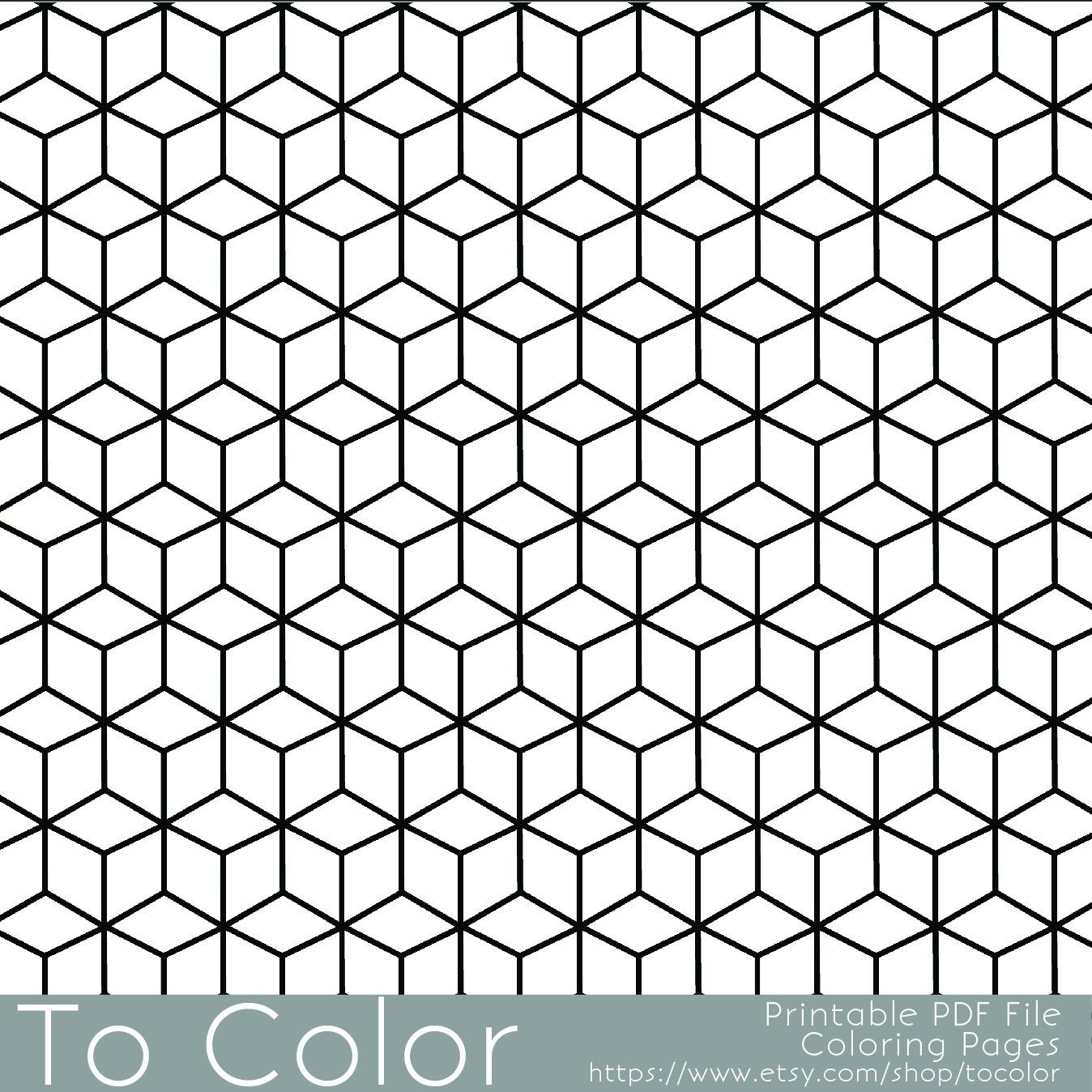 Colouring pages geometric patterns - Printable Coloring Pages For Adults Geometric Repeating Pattern Pdf Jpg Instant Download Coloring Book Coloring Sheet Grown Ups