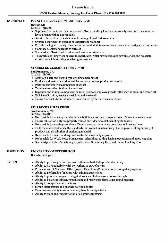 Shift Manager Job Description Resume New Shift Supervisor Starbucks Resume Shift Manager Job Description Resume