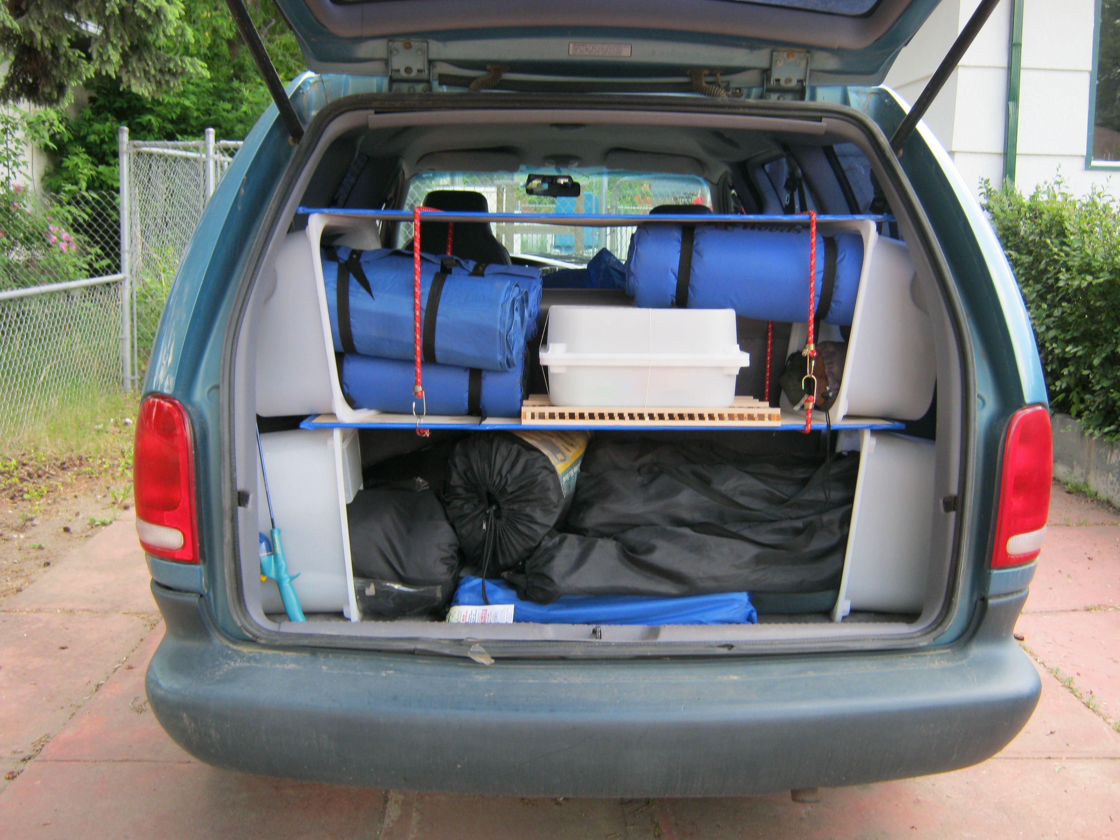 Dodge Caravan Shelving using IKEA Trofast Bins2 bungee cords and some plywood boards & Dodge Caravan Shelving using IKEA Trofast Bins2 bungee cords and ...