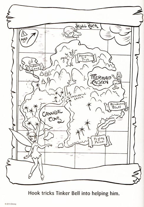 Peter Pan\'s Neverland map to color. | Parties: Neverland | Pinterest ...